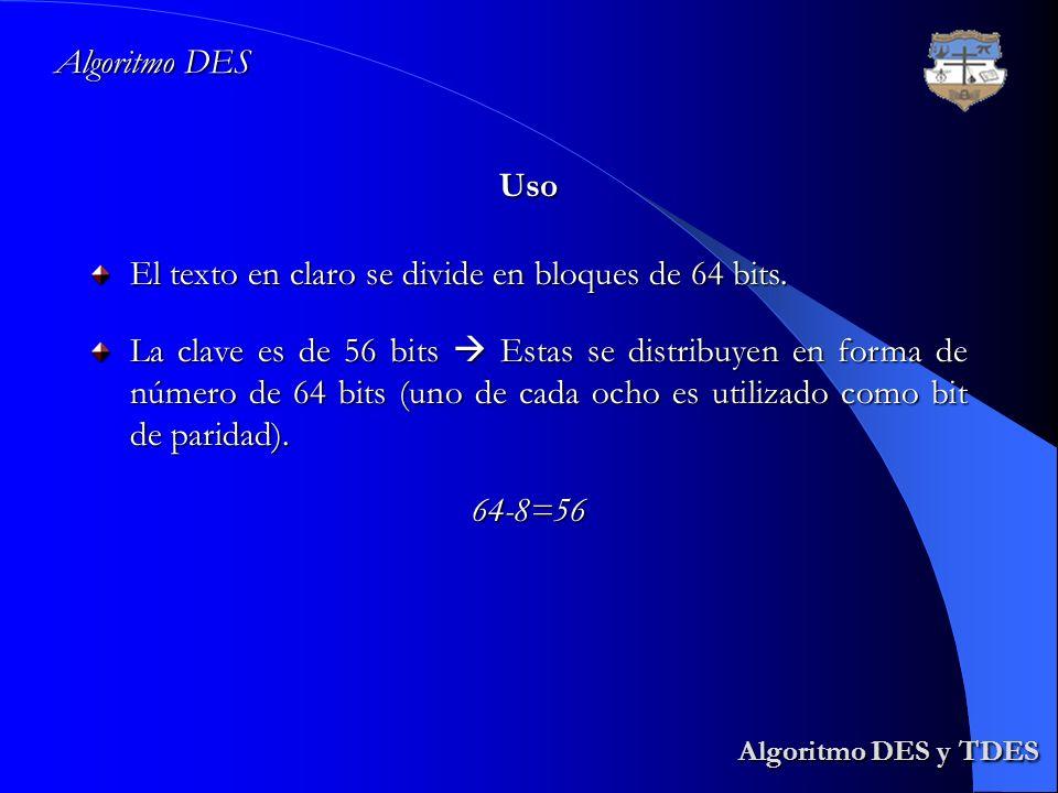 Algoritmo DES y TDES Algoritmo DES Uso