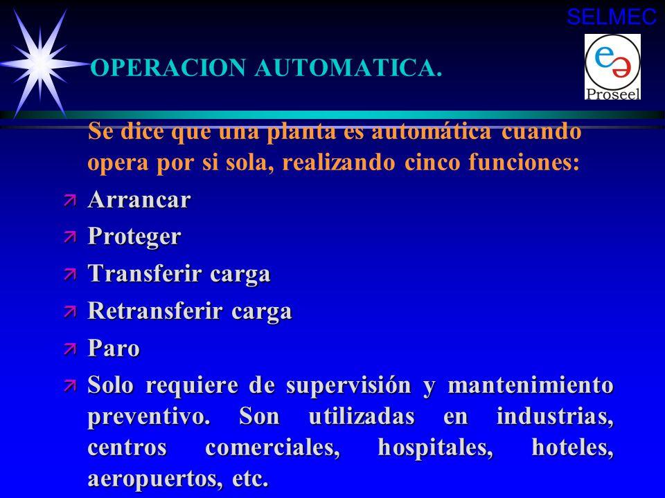 SELMEC OPERACION AUTOMATICA. Se dice que una planta es automática cuando opera por si sola, realizando cinco funciones: