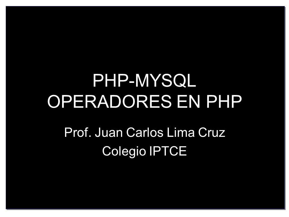 PHP-MYSQL OPERADORES EN PHP