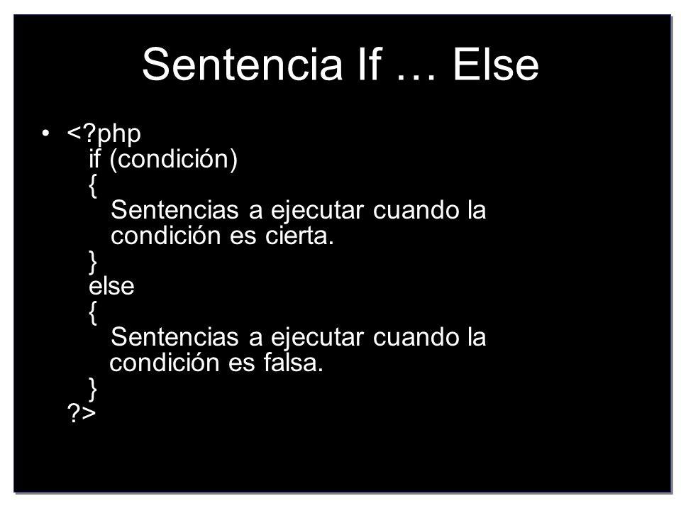 Sentencia If … Else