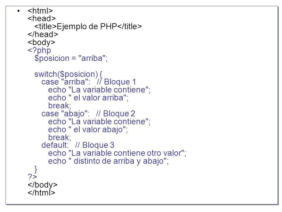 <html> <head> <title>Ejemplo de PHP</title> </head> <body> < php $posicion = arriba ; switch($posicion) { case arriba : // Bloque 1 echo La variable contiene ; echo el valor arriba ; break; case abajo : // Bloque 2 echo La variable contiene ; echo el valor abajo ; break; default: // Bloque 3 echo La variable contiene otro valor ; echo distinto de arriba y abajo ; } > </body> </html>