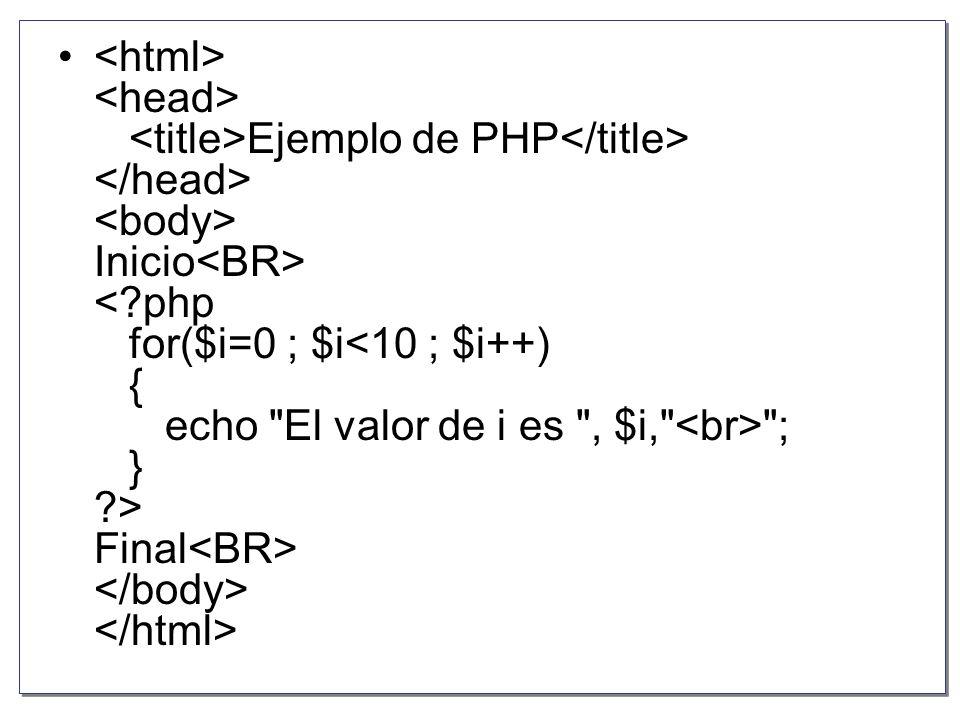 <html> <head> <title>Ejemplo de PHP</title> </head> <body> Inicio<BR> < php for($i=0 ; $i<10 ; $i++) { echo El valor de i es , $i, <br> ; } > Final<BR> </body> </html>