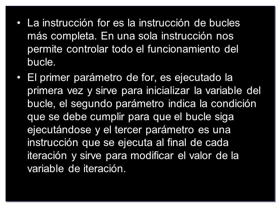 La instrucción for es la instrucción de bucles más completa