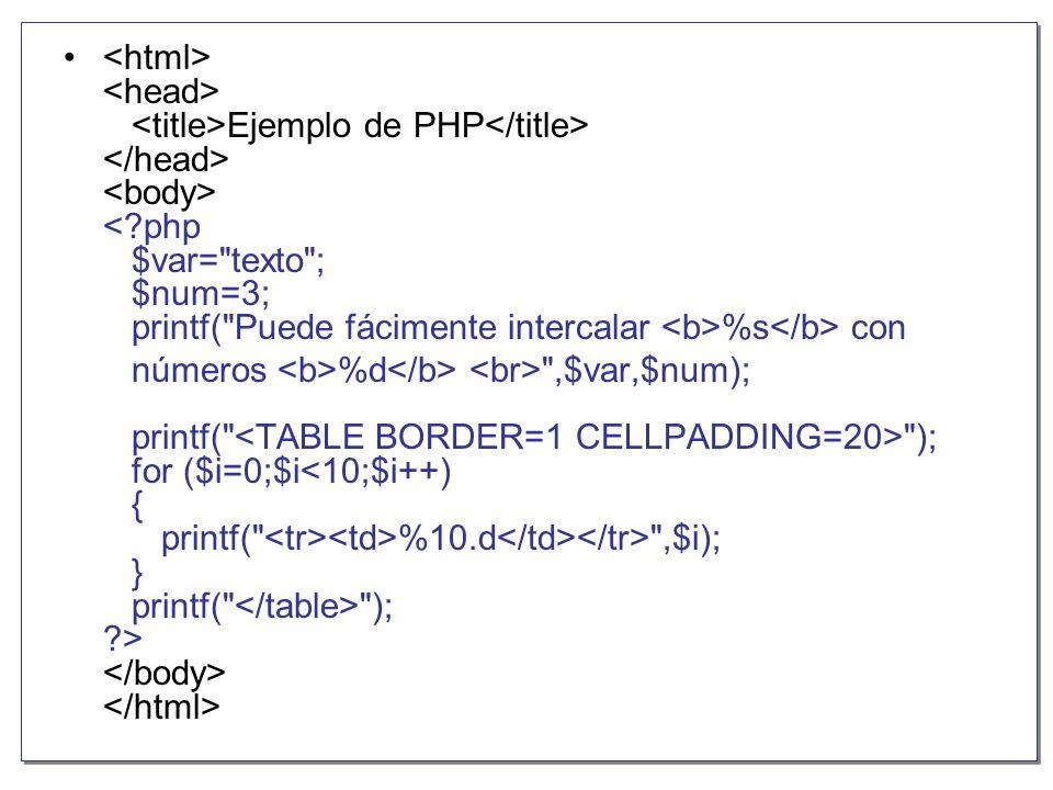 <html> <head> <title>Ejemplo de PHP</title> </head> <body> < php $var= texto ; $num=3; printf( Puede fácimente intercalar <b>%s</b> con