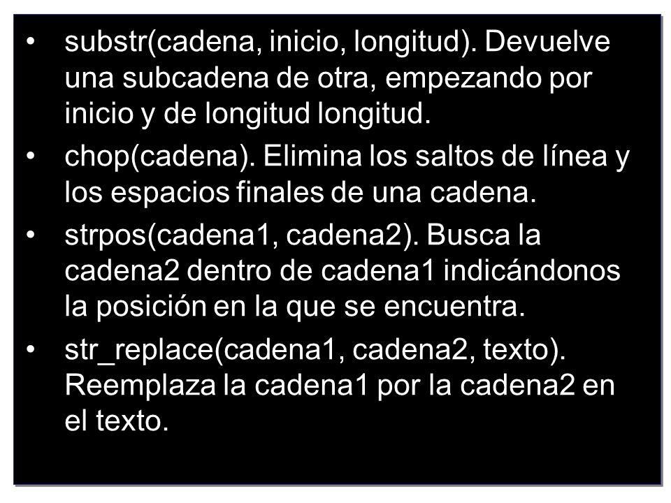 substr(cadena, inicio, longitud)
