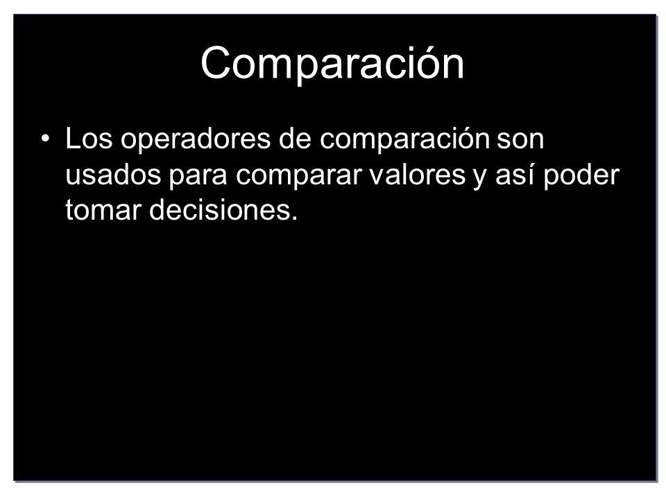 Comparación Los operadores de comparación son usados para comparar valores y así poder tomar decisiones.