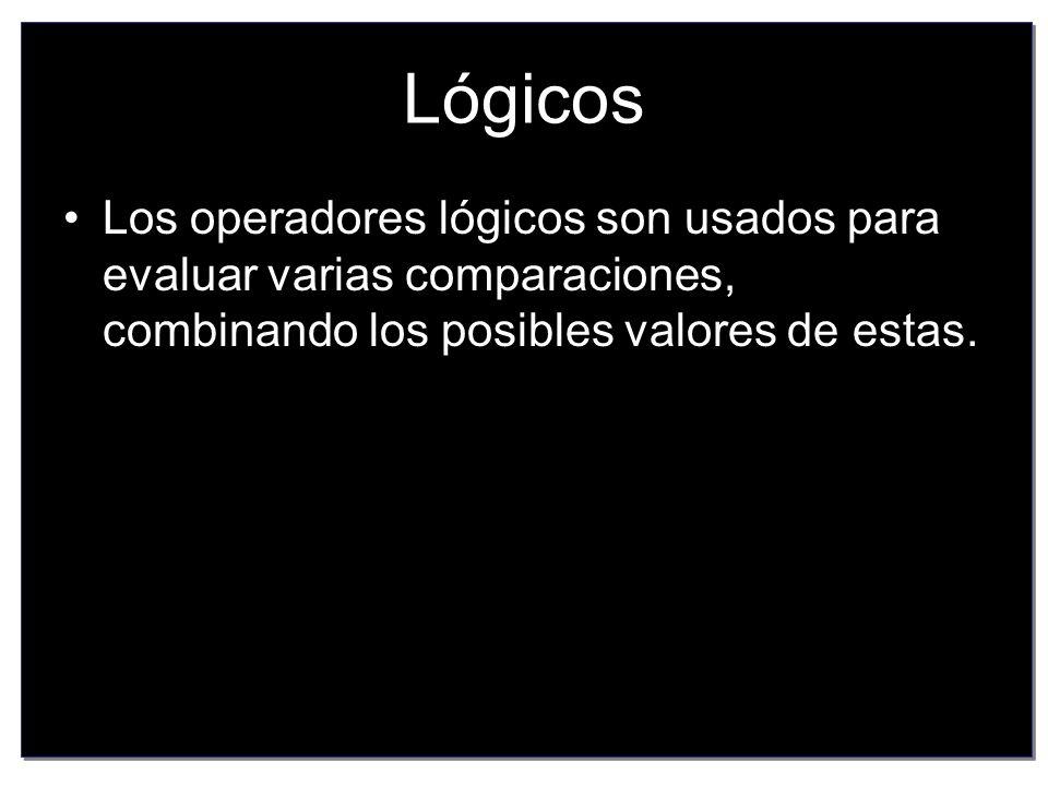 Lógicos Los operadores lógicos son usados para evaluar varias comparaciones, combinando los posibles valores de estas.
