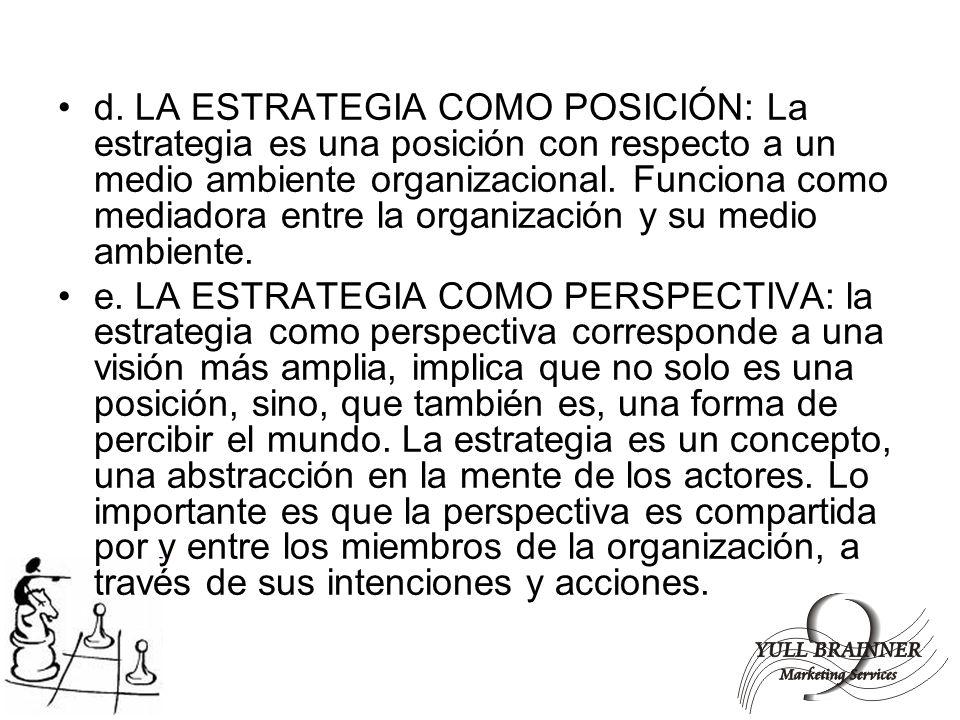 d. LA ESTRATEGIA COMO POSICIÓN: La estrategia es una posición con respecto a un medio ambiente organizacional. Funciona como mediadora entre la organización y su medio ambiente.