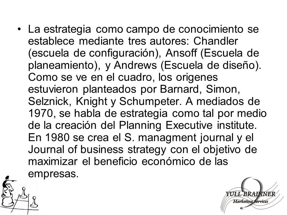 La estrategia como campo de conocimiento se establece mediante tres autores: Chandler (escuela de configuración), Ansoff (Escuela de planeamiento), y Andrews (Escuela de diseño).