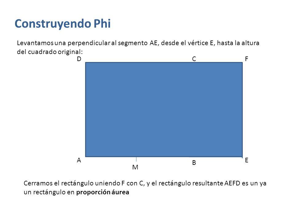 Construyendo Phi Levantamos una perpendicular al segmento AE, desde el vértice E, hasta la altura del cuadrado original: