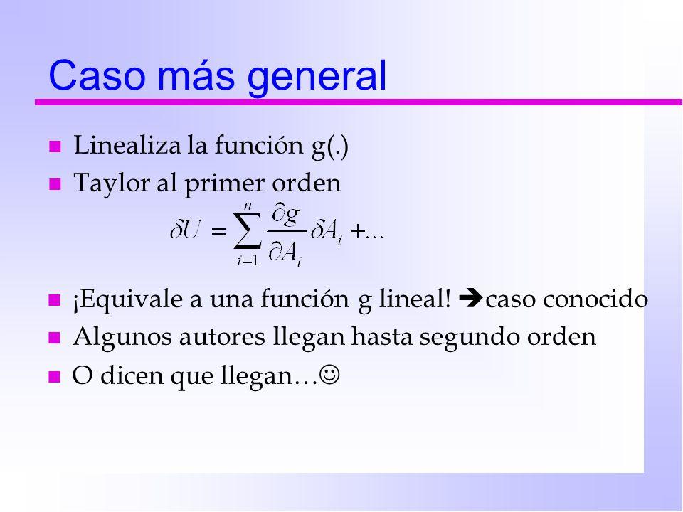 Caso más general Linealiza la función g(.) Taylor al primer orden