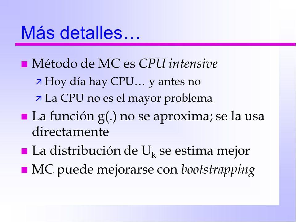 Más detalles… Método de MC es CPU intensive