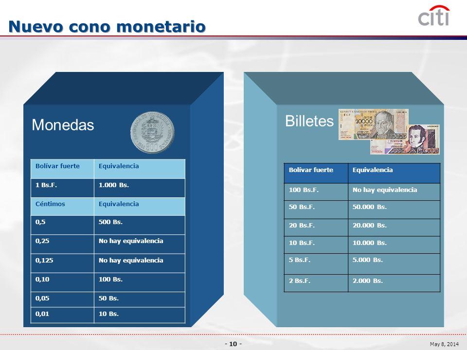 Nuevo cono monetario Billetes Monedas