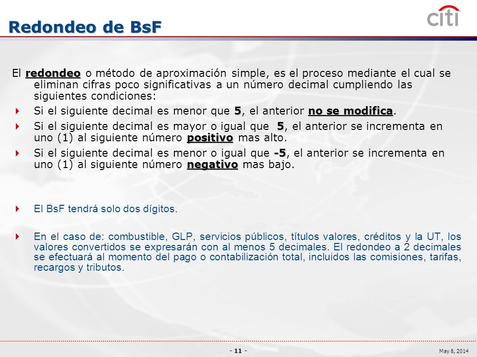Redondeo de BsF