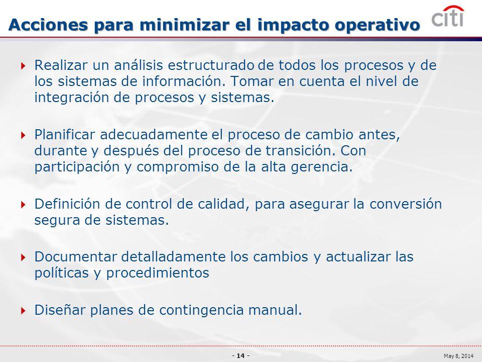 Acciones para minimizar el impacto operativo