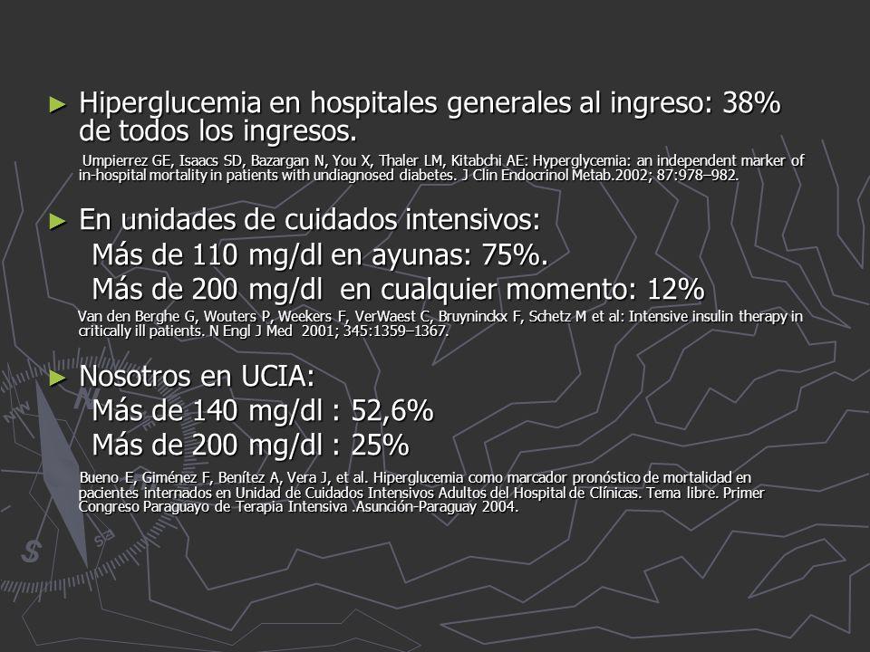 En unidades de cuidados intensivos: Más de 110 mg/dl en ayunas: 75%.