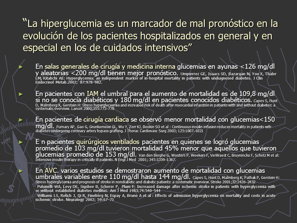 La hiperglucemia es un marcador de mal pronóstico en la evolución de los pacientes hospitalizados en general y en especial en los de cuidados intensivos