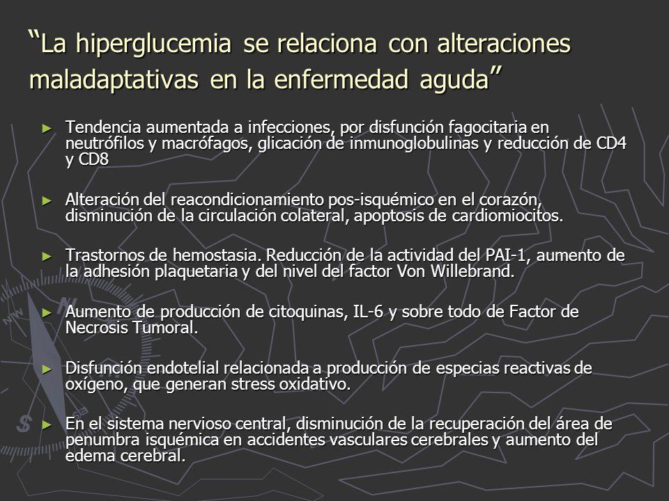 La hiperglucemia se relaciona con alteraciones maladaptativas en la enfermedad aguda
