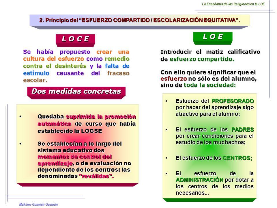 2. Principio del ESFUERZO COMPARTIDO / ESCOLARIZACIÓN EQUITATIVA .