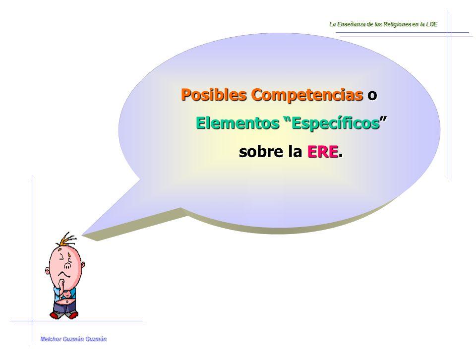 Posibles Competencias o Elementos Específicos sobre la ERE.