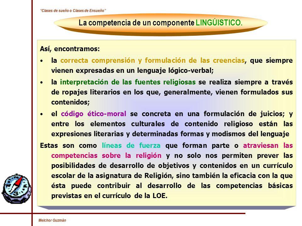 La competencia de un componente LINGÚISTICO.