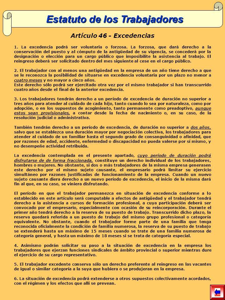 Estatuto de los Trabajadores Artículo 46 - Excedencias