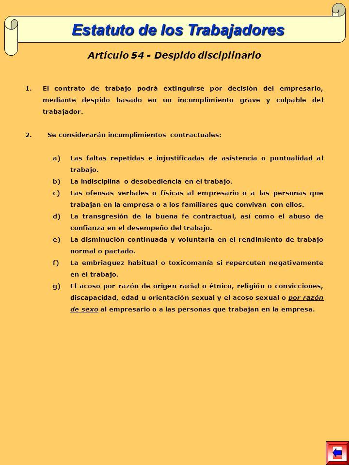 Estatuto de los Trabajadores Artículo 54 - Despido disciplinario
