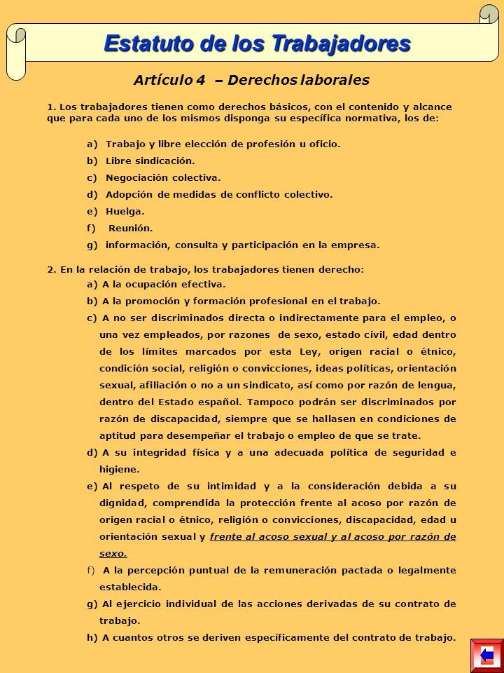 Estatuto de los Trabajadores Artículo 4 – Derechos laborales