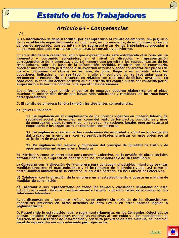 Estatuto de los Trabajadores Artículo 64 - Competencias