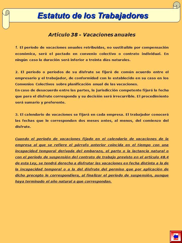 Estatuto de los Trabajadores Artículo 38 - Vacaciones anuales