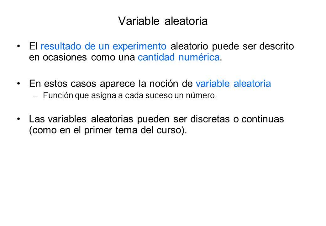 Variable aleatoria El resultado de un experimento aleatorio puede ser descrito en ocasiones como una cantidad numérica.