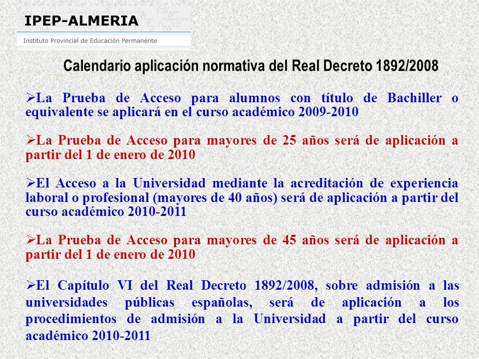 Calendario aplicación normativa del Real Decreto 1892/2008