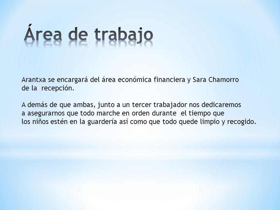 Área de trabajo Arantxa se encargará del área económica financiera y Sara Chamorro. de la recepción.