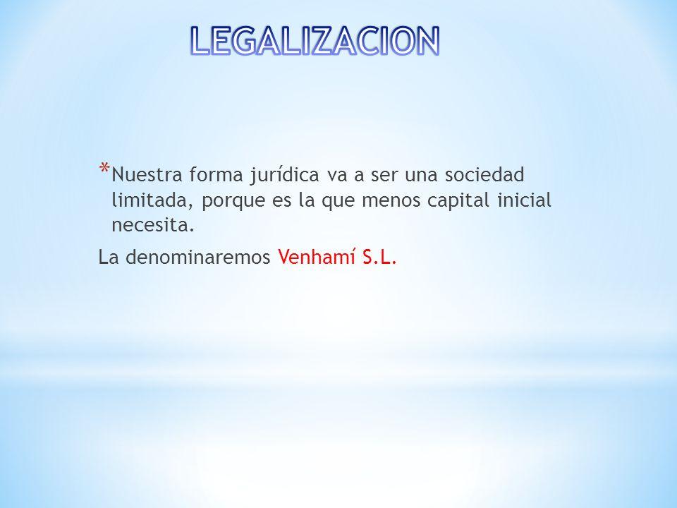 LEGALIZACION Nuestra forma jurídica va a ser una sociedad limitada, porque es la que menos capital inicial necesita.