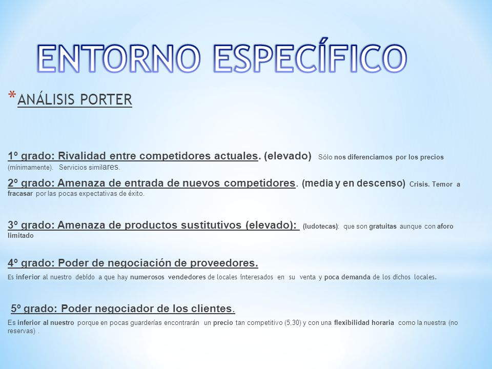ENTORNO ESPECÍFICO ANÁLISIS PORTER