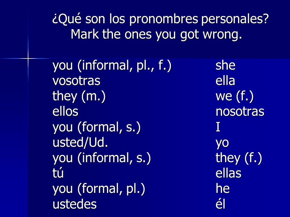 Mark the ones you got wrong. you (informal, pl., f.) she vosotras ella