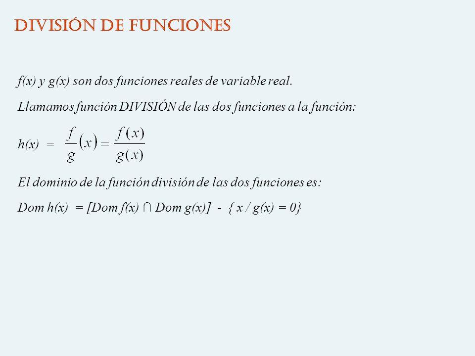 DIVISIÓN DE FUNCIONES f(x) y g(x) son dos funciones reales de variable real. Llamamos función DIVISIÓN de las dos funciones a la función: