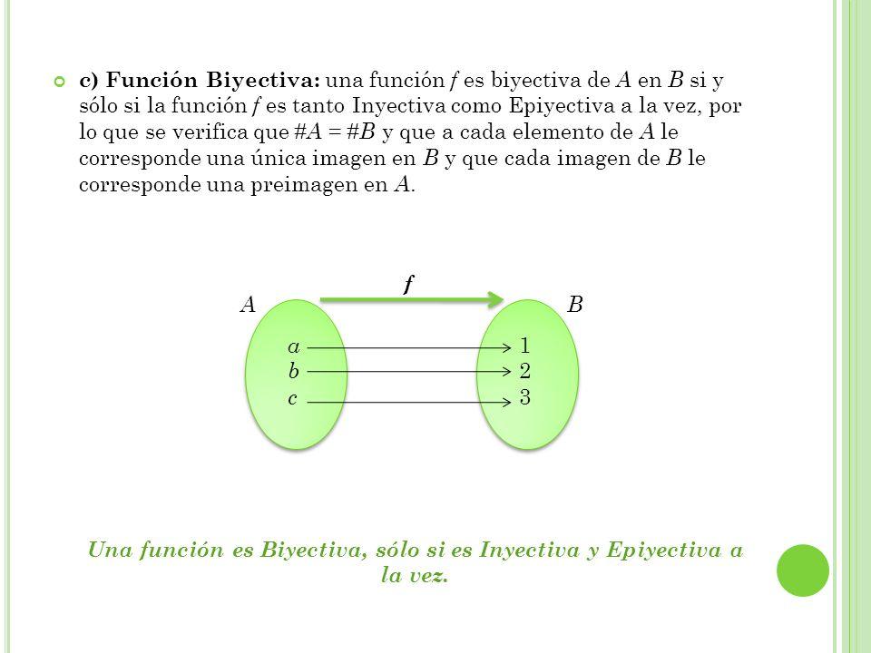 Una función es Biyectiva, sólo si es Inyectiva y Epiyectiva a la vez.