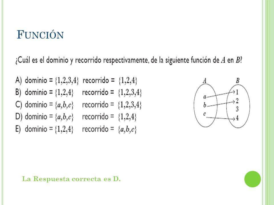 Función La Respuesta correcta es D.