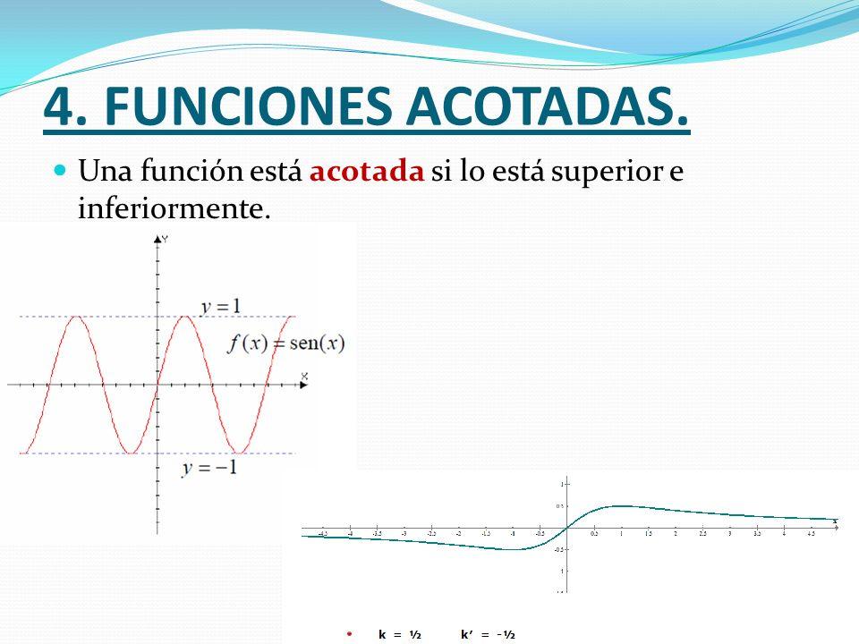 4. FUNCIONES ACOTADAS. Una función está acotada si lo está superior e inferiormente.