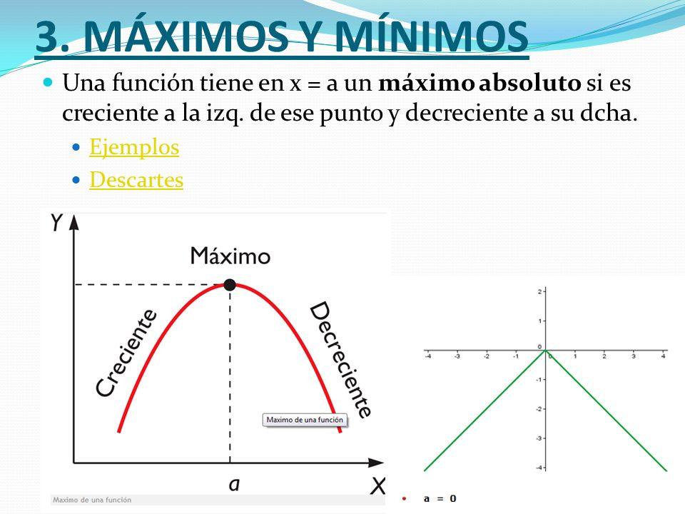 3. MÁXIMOS Y MÍNIMOS Una función tiene en x = a un máximo absoluto si es creciente a la izq. de ese punto y decreciente a su dcha.