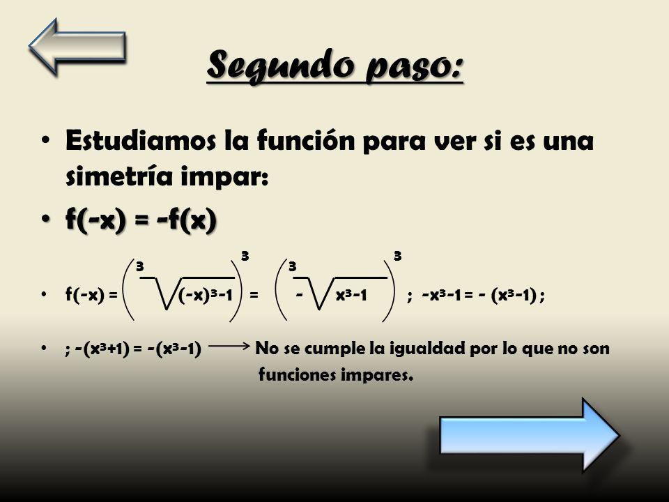 Segundo paso: Estudiamos la función para ver si es una simetría impar: