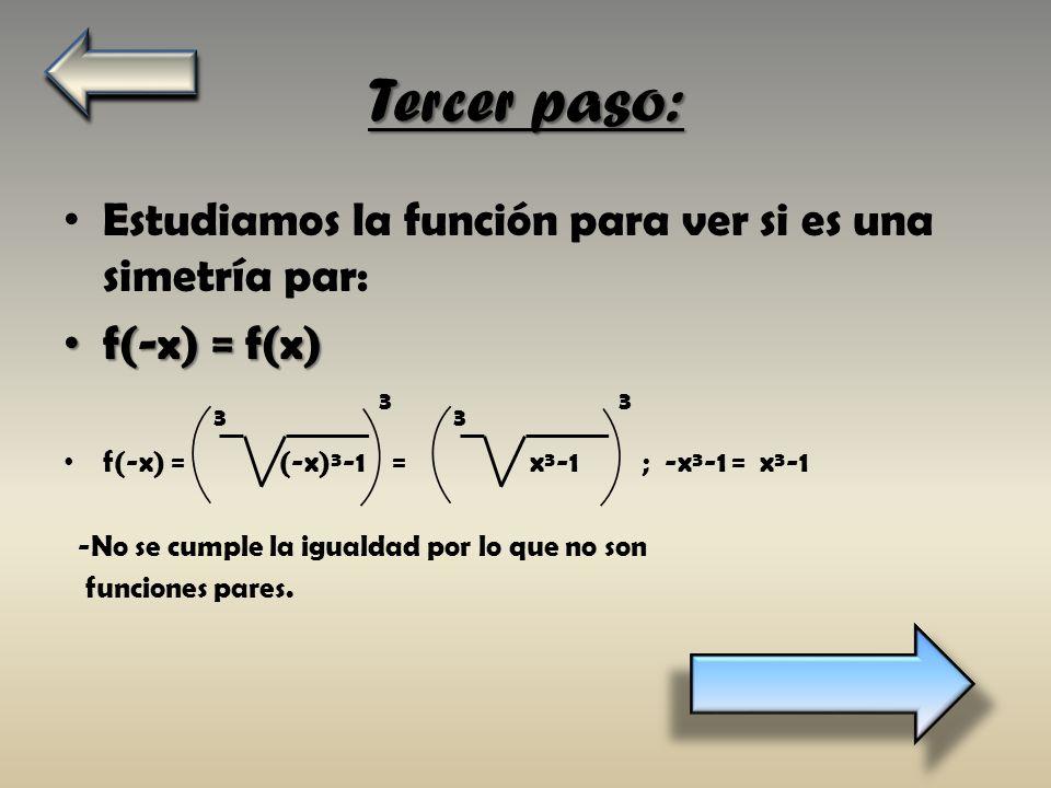 Tercer paso: Estudiamos la función para ver si es una simetría par: