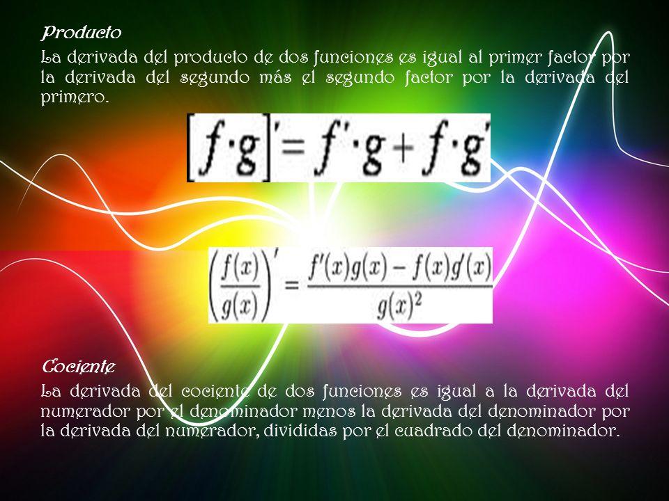 Producto La derivada del producto de dos funciones es igual al primer factor por la derivada del segundo más el segundo factor por la derivada del primero.