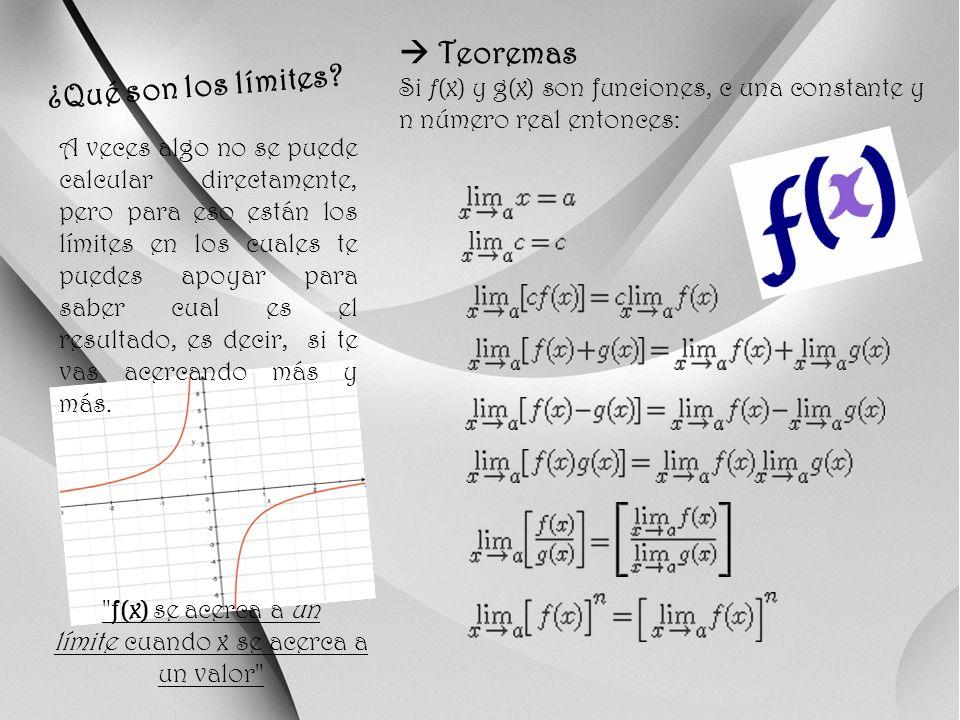 f(x) se acerca a un límite cuando x se acerca a un valor