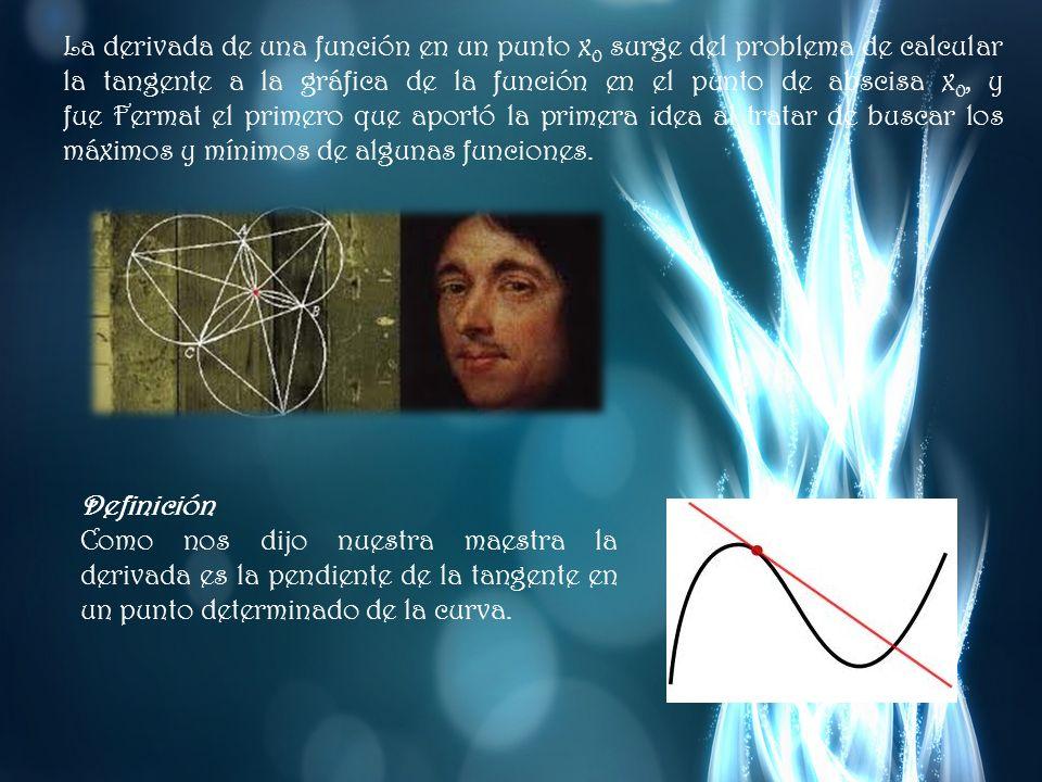 La derivada de una función en un punto x0 surge del problema de calcular la tangente a la gráfica de la función en el punto de abscisa x0, y fue Fermat el primero que aportó la primera idea al tratar de buscar los máximos y mínimos de algunas funciones.