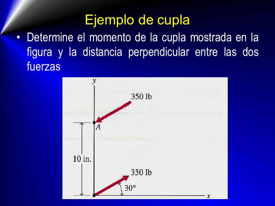 Ejemplo de cupla Determine el momento de la cupla mostrada en la figura y la distancia perpendicular entre las dos fuerzas.