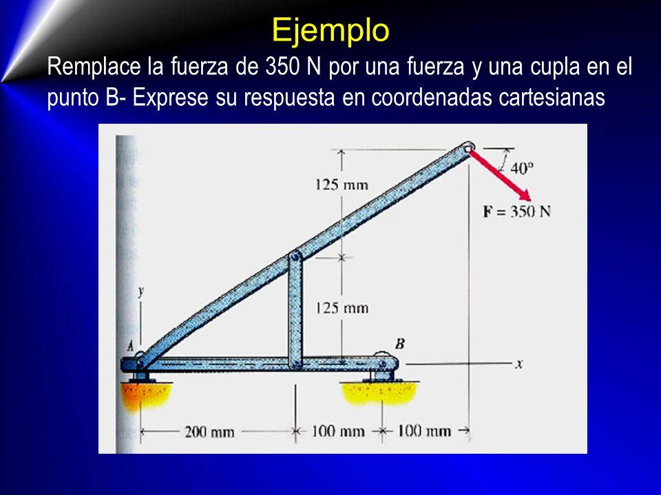 Ejemplo Remplace la fuerza de 350 N por una fuerza y una cupla en el punto B- Exprese su respuesta en coordenadas cartesianas.
