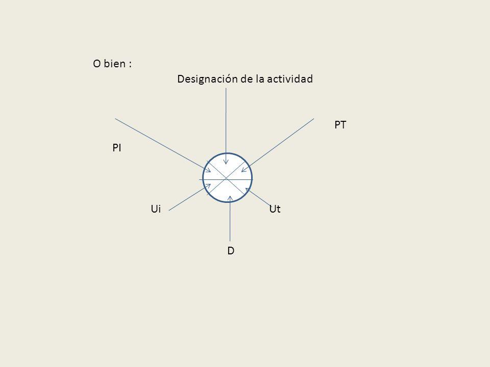 O bien : Designación de la actividad PT PI Ui Ut D