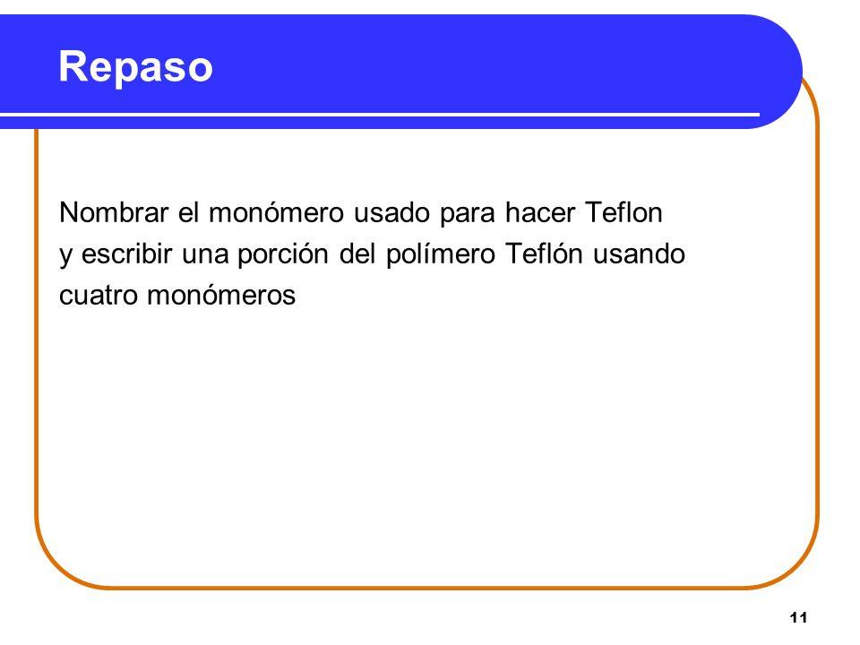 Repaso Nombrar el monómero usado para hacer Teflon